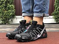 Кроссовки мужские демисезонные в стиле Salomon Speedcross Черные с серым