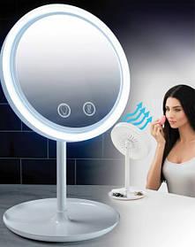 Настольное косметическое зеркало с подсветкой и вентилятором от USB Beauty Breeze Mirror Белое (NJ-220)
