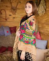 Украинский женский платок кофейного цвета (120х120см, кофейный, 100%-акрил), фото 1
