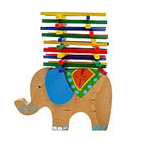 Деревянный Балансир с палочками «Слон»