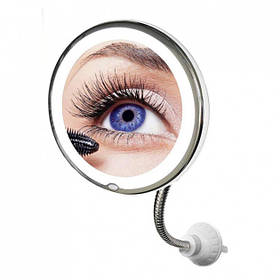 Круглое гибкое зеркало для макияжа с LED подсветкой с 10-ти кратным увеличением Ultra Flexible Mirror (NJ-118)
