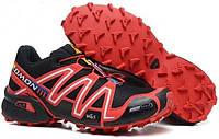 Кроссовки мужские демисезонные в стиле Salomon Speedcross Черные с красным