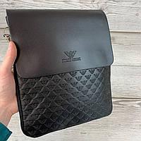 Мужская черная сумка планшетка Armani. Городская барсетка через плечо Армани, PU кожа