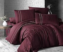 Комплект постельного белья Страйп Сатин евро Stripe Style Бордо