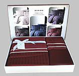 Комплект постельного белья Страйп Сатин евро Stripe Style Бордо, фото 2