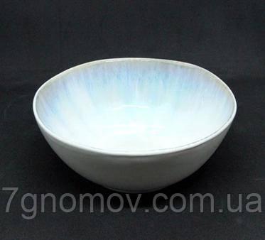 Набор 6 керамических пиал белых с фиолетовым Лаванда 17,5 см