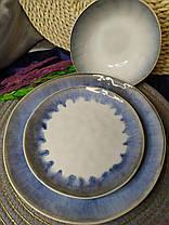 Набор 6 керамических пиал белых с фиолетовым Лаванда 17,5 см, фото 3