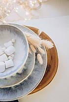 Набор 6 керамических пиал белых с фиолетовым Лаванда 17,5 см, фото 2