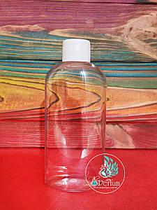 Флакон прозрачный пластиковый 200 мл комплект (белая крышка+пробка) 24/410