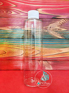 Флакон прозрачный пластиковый 250 мл комплект (белая крышка+пробка) 24/410