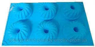 Форма силиконовая  для выпечки кексов со стержнем 6 шт на планшетке
