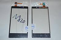 Оригинальный тачскрин / сенсор (сенсорное стекло) для Nokia Lumia 820 (черный цвет, чип Synaptics) + СКОТЧ