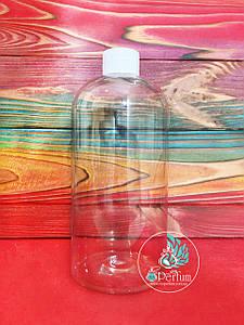 Флакон прозрачный пластиковый 500 мл комплект (белая крышка+пробка) 24/410