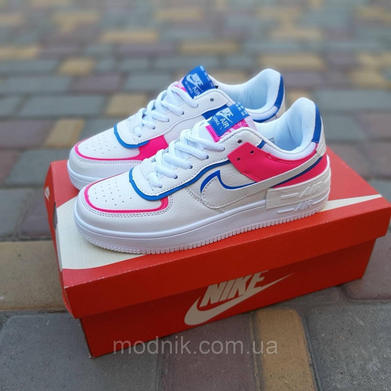 Женские кроссовки Nike Air Force 1 Shadow (белые с малиной и синим) 20217 повседневные демисезонные кроссы