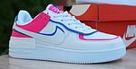 Женские кроссовки Nike Air Force 1 Shadow (белые с малиной и синим) 20217 повседневные демисезонные кроссы, фото 2