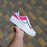 Женские кроссовки Nike Air Force 1 Shadow (белые с малиной и синим) 20217 повседневные демисезонные кроссы, фото 4