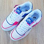 Женские кроссовки Nike Air Force 1 Shadow (белые с малиной и синим) 20217 повседневные демисезонные кроссы, фото 7