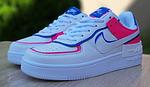 Женские кроссовки Nike Air Force 1 Shadow (белые с малиной и синим) 20217 повседневные демисезонные кроссы, фото 8
