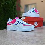 Женские кроссовки Nike Air Force 1 Shadow (белые с малиной и синим) 20217 повседневные демисезонные кроссы, фото 9