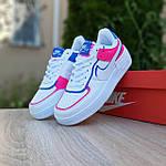 Женские кроссовки Nike Air Force 1 Shadow (белые с малиной и синим) 20217 повседневные демисезонные кроссы, фото 10