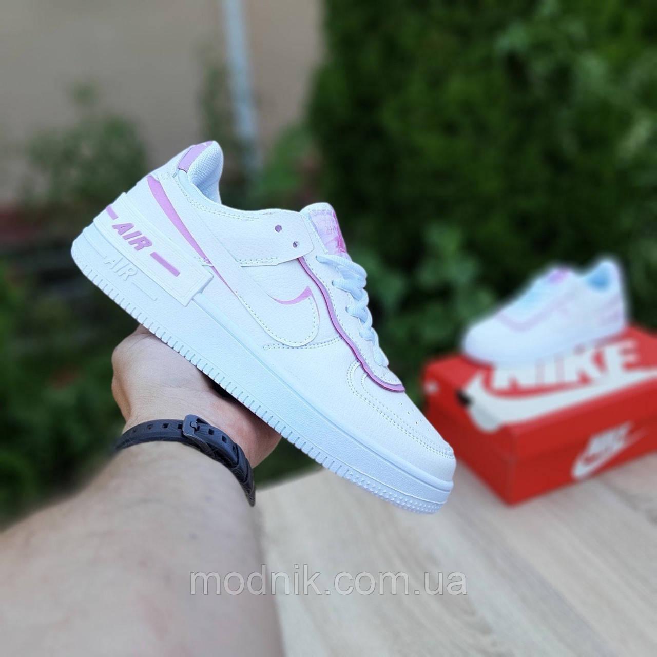 Женские кроссовки Nike Air Force 1 Shadow (белые с сиреневым) 20204 повседневные демисезонные кроссы