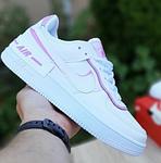 Женские кроссовки Nike Air Force 1 Shadow (белые с сиреневым) 20204 повседневные демисезонные кроссы, фото 3