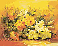 """KH 2037 """"Букет в желтом цвете""""  Роспись по номерам на холсте 40х50см"""