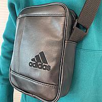 Мужская сумка через плечо Adidas Адидас кожаная барсетка мессенджер спортивная видео обзор
