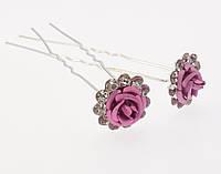 """Шпилька для волос """"Розовая роза в обрамлении страз"""" ø 14мм (цена за одну штуку)"""