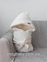 Велюровый конверт-одеяло на махре Velvet, молочный