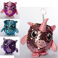 Мягкая игрушка MP 2101 (72шт) животное/единорог, 11см, брелок 16с, пайетки, 4цвета