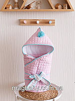 Стеганый конверт с кисточкой, розово-бирюзовое