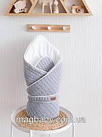"""Вязаный конверт-одеяло """"Tress"""", серый"""