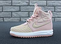 Женские евро зимние кроссовки Nike Lunar Force 1 Duckboot '17 Pink розовые кожаные найк лунар форс дакбут LF 1