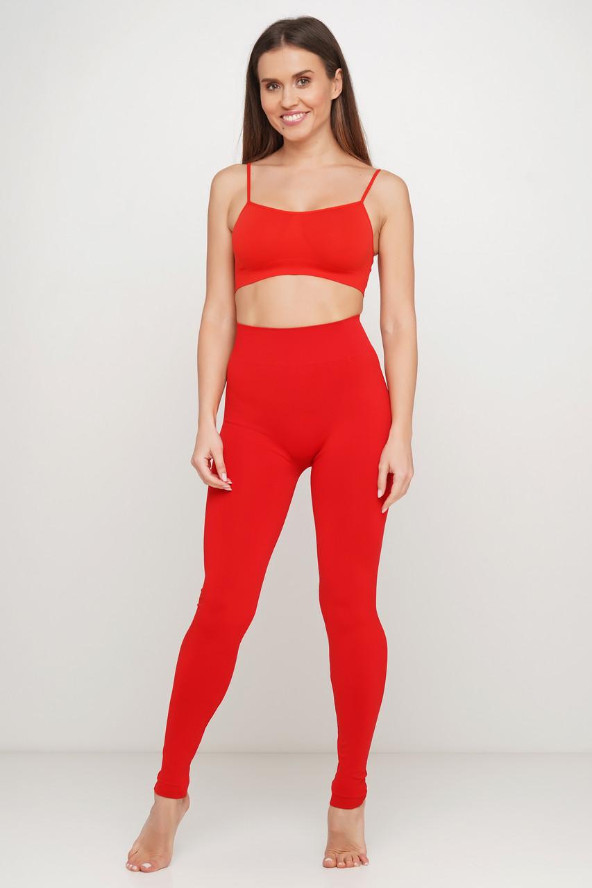 Красные бесшовные спортивные женские легинсы