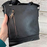 Мужская кожаная сумка. Черная барсетка через плечо из натуральной кожи, классическая планшетка