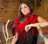 Молодежный украинский платок для девушек (100х100см,красный, 100%-акрил)