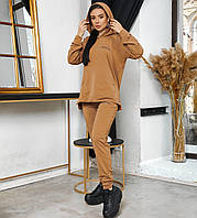 Женский коричневый спортивный костюм оверсайз