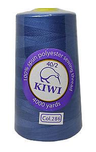 """Нитки швейные """"Kiwi"""" синий-джинс 4000 ярдов №40/2 (286)"""