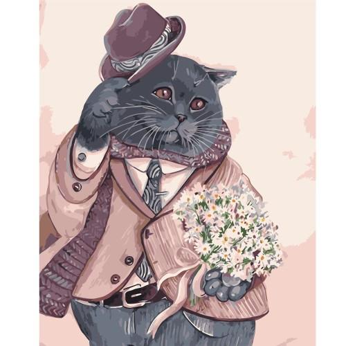Картина по номерам Шотланский кот в костюме, в термопакете 40*50см код: VA-1409
