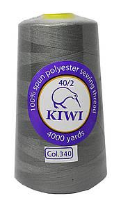 """Нитки швейные """"Kiwi"""" серый 4000 ярдов №40/2 (340)"""