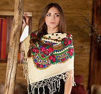 Женский платок с цветами и бахрамой (100х100см,шампань, 100%-акрил)