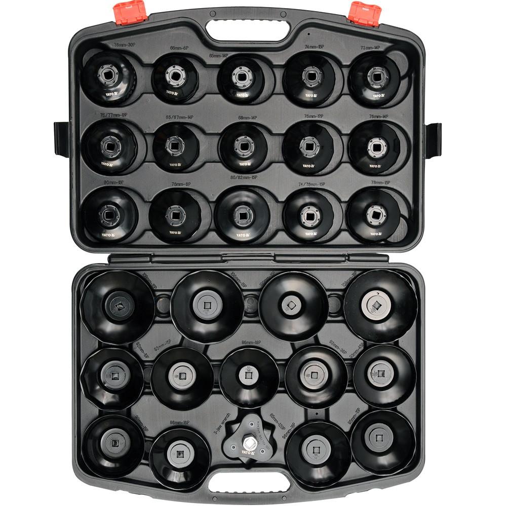 """Набір чашок для зняття масляних фільтрів YATO 3/8"""" 65-120 мм 30 предметів (YT-0596)"""