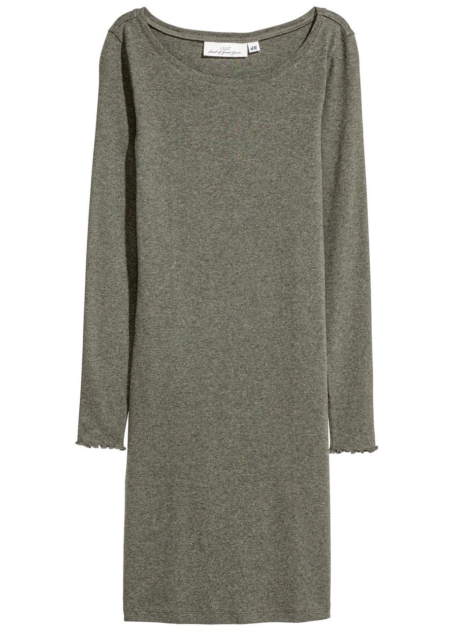 Женское платье H&M XS(160/80) болотный