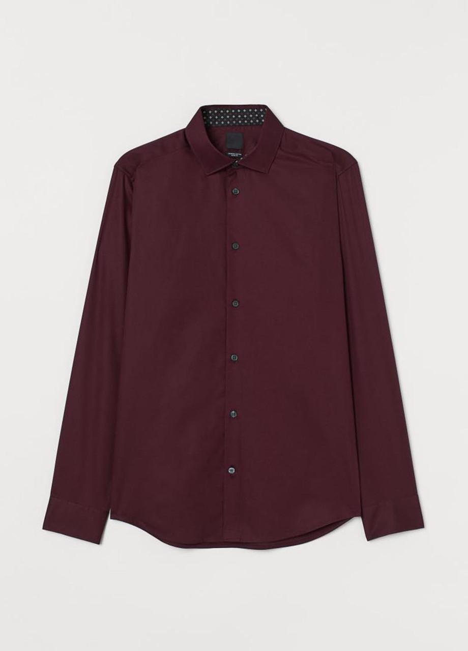 Мужская рубашка H&M M(175/100) марсал