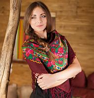 Яркий вишневый платок с бахромой (100х100см,вишневый, 100%-акрил), фото 1