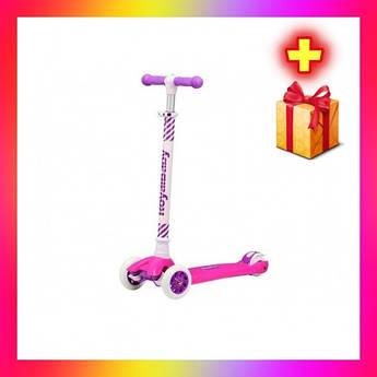 Детский городской самокат Royal Baby Dazzler с подсветкой колес Розовый