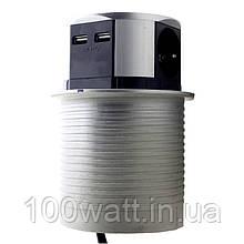 Меблева розетка 3 x 16 А , 2 x USB 2,4 А , металл + провід 3 x 1.5 mm²