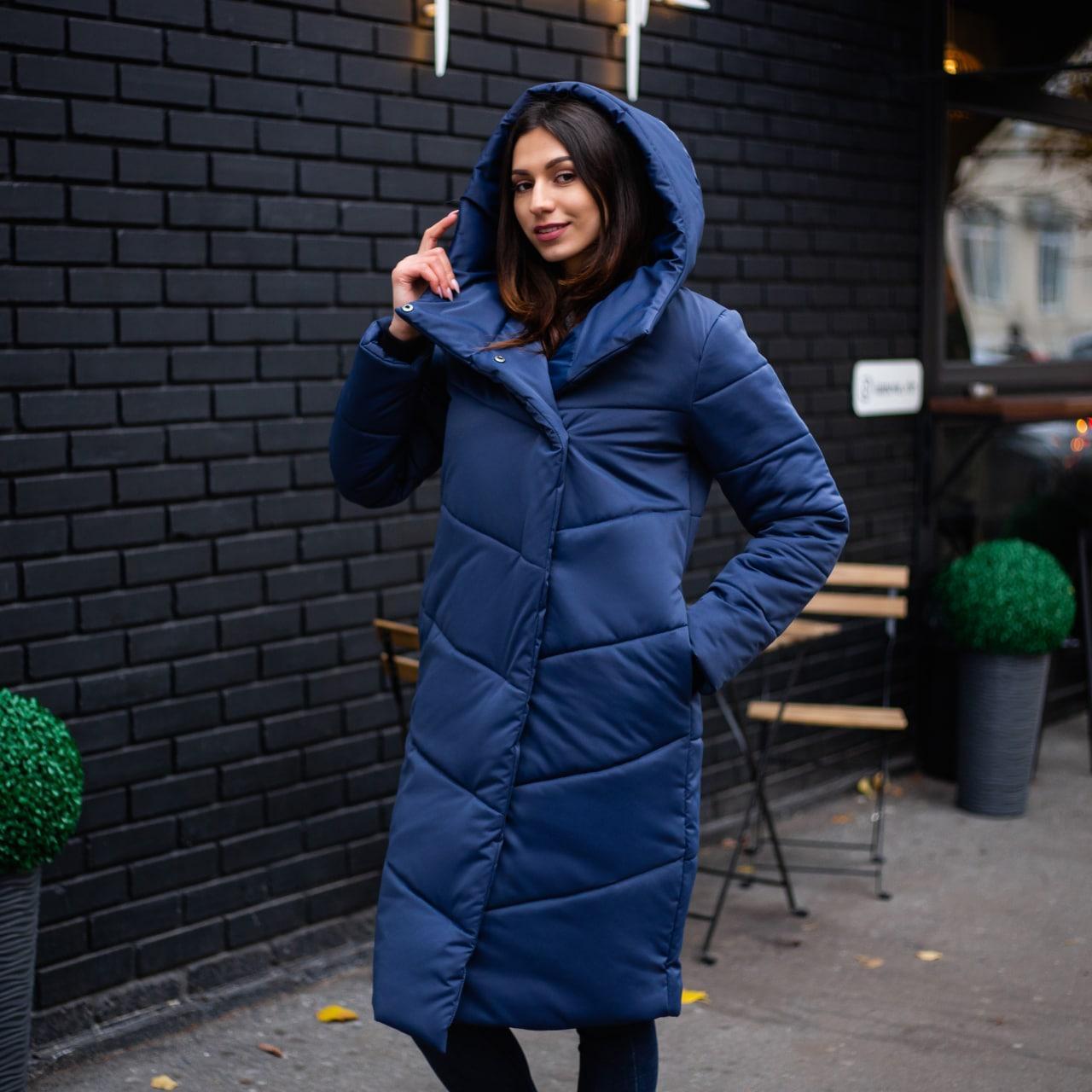 Куртка-пальто женская зимняя 'Mi-mi-mi' (синяя)