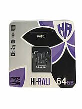 Карта памяти MicroSDXC 64GB Class 10 Hi-Rali + SD-adapter